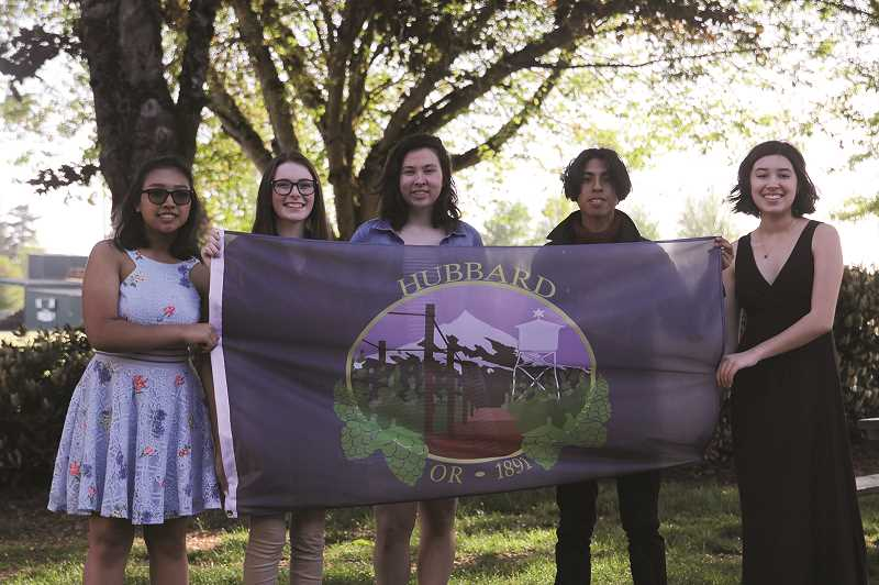 PMG PHOTO: PHIL HAWKINS - FROM LEFT: North Marion National Art Honor Society members Isabella Mon, Peyton Knight, Gabby Luna, Oscar Zurita and Lindsey Patton worked together this year to design a city flag for Hubbard.