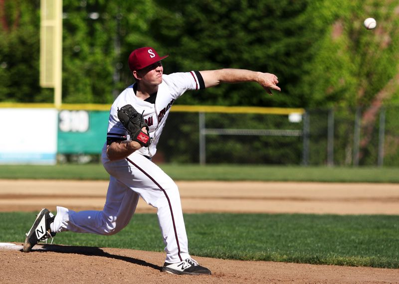 PMG PHOTO: DAN BROOD - Sherwood High School senior Sage Dunaway fires in a pitch during the Bowmen's 4-3 loss to Century on Thursday.