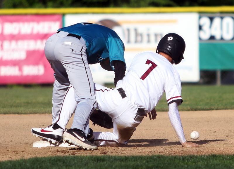 PMG PHOTO: DAN BROOD - Sherwood High School senoir Caden Snelling (7) gets safely to second base in the third inning of the Bowmen's home game with Century.