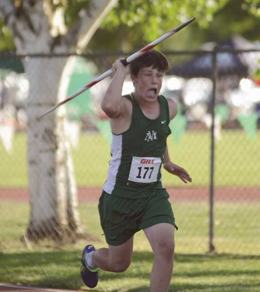 PMG PHOTO: DAVID BALL - North Marion sophomore Tyler Manning placed second in the district javelin competition to qualify for the 4A state meet this weekend.
