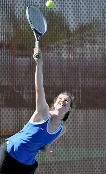GRAPHIC PHOTO: GARY ALLEN - Junior Annika Sellke was the lone seeded player for the Newberg girls tennis team.
