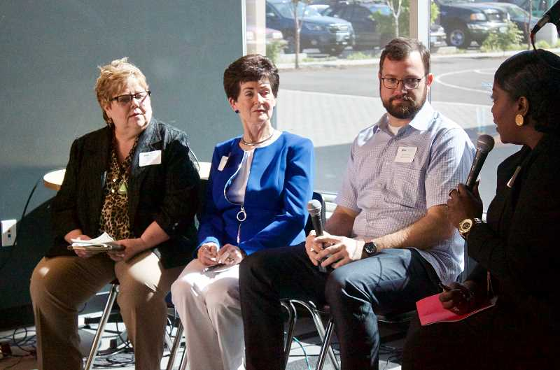 PMG PHOTO: CHRISTOPHER KEIZUR - Bess Wills, Lila Leathers, and Dan Corcoran took part in a small business panel during an Economic Prosperity Forum.