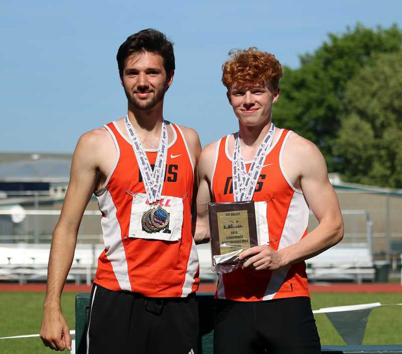 PMG PHOTO: JIM BESEDA  - Senior Nick Lucas (left) and Tanner Nauta (right) were named Co-Most Valuable Athletes of the Tri-Valley Conference meet.