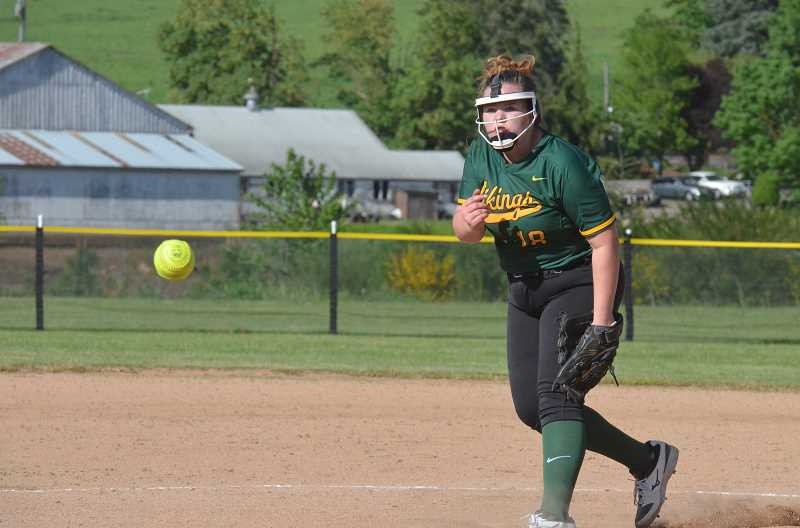 PMG PHOTO: TANNER RUSS - Colton's Madelynne Pierce took to the mound in the blowout victory over Delphian.