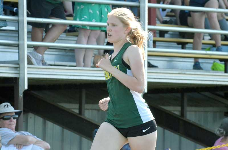 PMG PHOTO: TANNER RUSS - Colton's Ruby Becker took fourth place in the 300-meter hurdles.