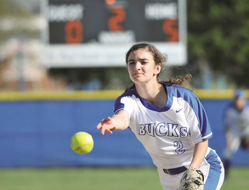 PMG PHOTO: GARY ALLEN - St. Paul senior Rachel Vela was the winning pitcher in all three games of the Buckaroos sweep over the Portland Christian Royals last week.