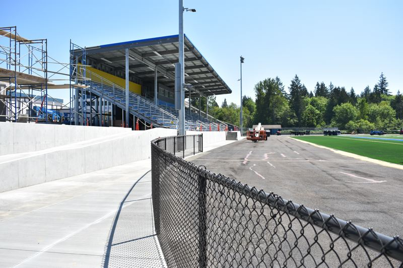 PMG PHOTO: TERESA CARSON - The long-awaited Bruins sports stadium is well underway with a new eight-lane track suitable for statewide track events.