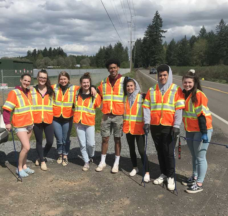 COURTESY PHOTO: SUMMER HAZELTON - The senior project road crew is made up of (L-R): Katie Moore, Macey Beseau, Abigail Syvinski, Summer Hazelton, Javontae Maes, Kaelie Gates, Donny Maes and Katrina Syvinski.