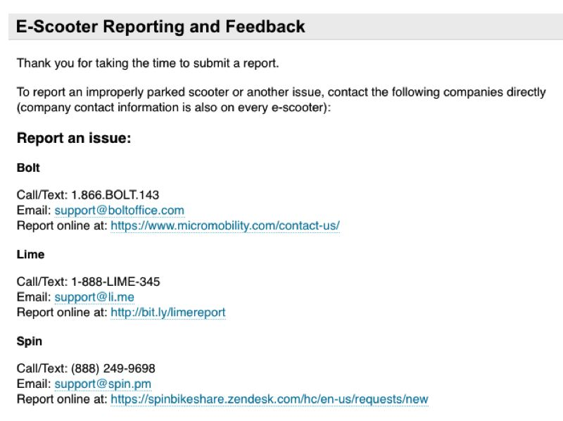 VIA PBOT - A screenshot shows part of the feedback page for e-scooters created by the Portland Bureau of Transportation.