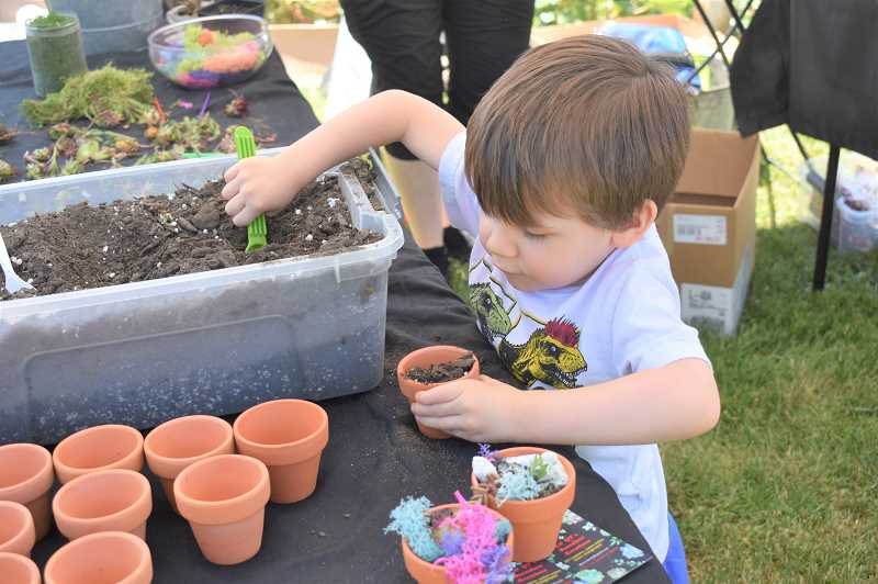 PMG PHOTO: EMILY LINDSTRAND - Gaelan Montgomery works on a project at the  Lil QT's Succulent Creations booth at the Estacada Farmers Market during opening day on Saturday, May 11.