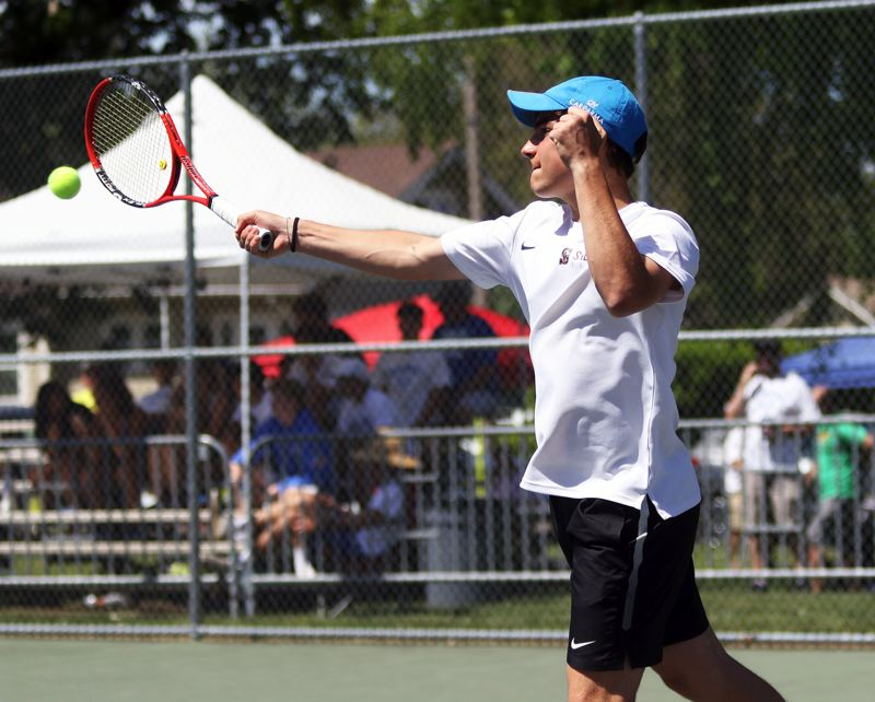 PMG PHOTO: DAN BROOD - Sherwood High School sophomore Diego Ciccarelli took third place in boys singles play at the Pacific Conference district tennis tournament.