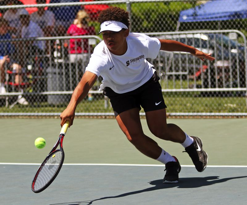 PMG PHOTO: DAN BROOD - Sherwood High School junior Jamison Guerra took fourth place in boys singles play at the Pacific Conference district tennis tournament.