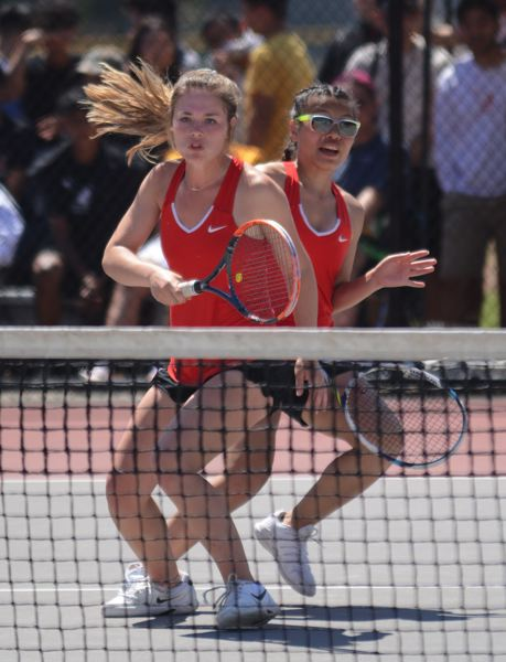 PMG PHOTO: DAVID BALL - Clackamas' Olivia Morris (left) and Meiling Masterson successfully defended their doubles title at the Mt. Hood Conference tennis championships at David Douglas High School.