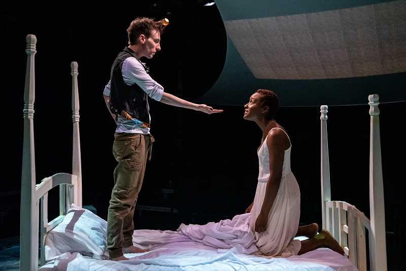 COURTESY PHOTO: CASEY CAMPBELL - Phillip J. Berns and Kayla Kelly of Bag & Baggage Productions portray Peter and Wendy in an adaptation of J.M. Barrie's works, 'Peter/Wendy.'