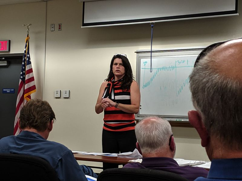 POST PHOTO: BRITTANY ALLEN - Planner Martha Fritzie and colleagues fielded questions and comments from county residents at the Boring CPO meeting on May 7.