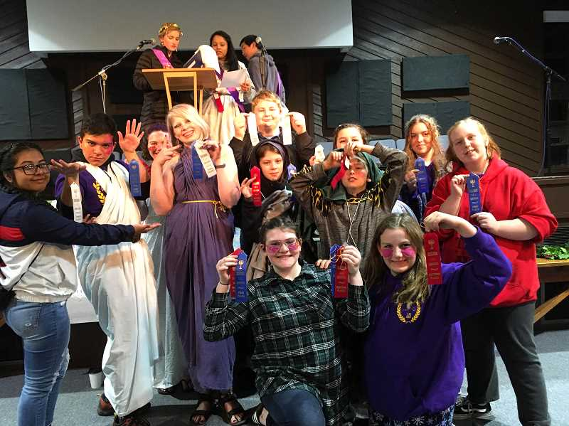 COURTESY PHOTO: RORY MURTAUGH - RPA students in grades 5-12 show off their awards from the Cascadia Junior Classical League Convention.
