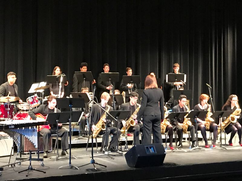 PMG COURTESY PHOTO: DAN DAVEY - Jennifer Brooks Muller leads the David Douglas High School jazz ensemble in the 2018 Oregon State Jazz Championships. Thirty bands from high schools all around Oregon will perform at this year's event on the Mt. Hood Community College campus.