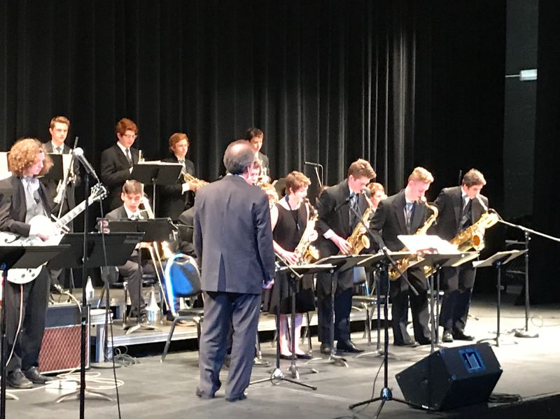 PMG COURTESY PHOTO: DAN DAVEY - Kevin Egan directs the West Linn High School jazz band at last year's Oregon State Jazz Championships event. Six out-of-state adjudicators will judge bands' performances at the 2019 event, which is free and open to the public.