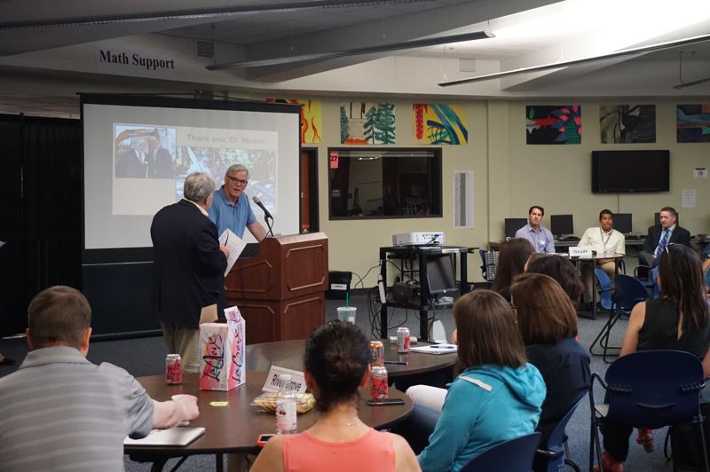PMG PHOTO: CLAIRE HOLLEY - School board chair Bob Barman thanks Superintendent Michael Musick at the School Accountability Committee meeting.