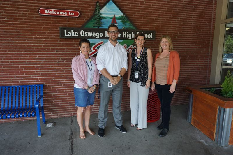 PMG PHOTO: CLAIRE HOLLEY - Some members of the LOJ Diversity, Equity and Inclusion committee that organized Better Together Day. From left: Lindsay Kopacek, principal Kevin Mills, Amy Espinosa and Aletia Cochran.