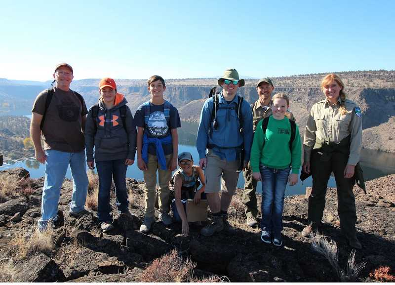 SUBMITTED PHOTO - Culver STEM students visit the Island. From left to right, those on the trip included Paul Patton, resource specialist with Oregon State Parks and Recreation, Kailee Macy, Westin Alps, Jaden Scott, Mark Habliston, STEM teacher, Matt Davey, park ranger supervisor for Cove Palisades State Park and Erin Bennett, park ranger for Cove Palisades.