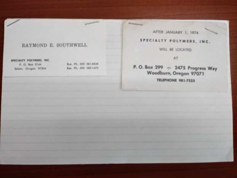 PMG PHOTO: JUSTIN MUCH - Original business cards from Specialty Polymer in Woodburn, which celebrates 50 years.