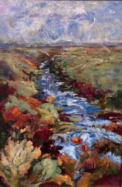 COURTESY PHOTO  - Janet Amundson-Splidsboel's art Destined Course won Best of Show in the 2019 Lake Area Artists Show and Sale. The art is made of encaustic (molten pigmented beeswax) measuring 36-inches by 24-inches.