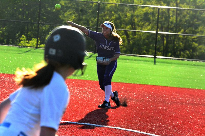 TIMES PHOTO: MATT SINGLEDECKER - Sunset senior shortstop Abby Wingo made two critical plays for the Apollos in a 1-0 over Mountainside.