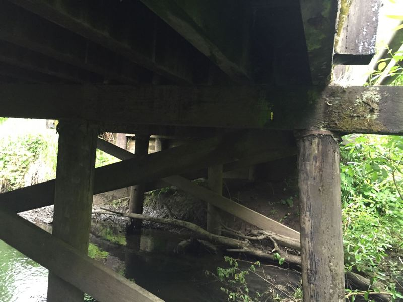 PMG FILE PHOTO - A bridge in Tigard with wooden timbers is an example of the types of structures that received poor grades in the engineers' socity report.