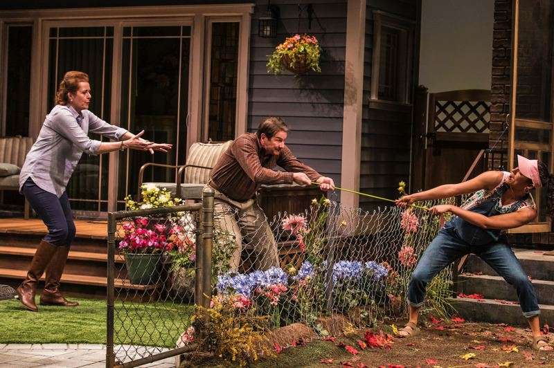 COURTESY: GEVA THEATRE CENTER - Neighbors tussle in Portland Center Stage's 'Native Gardens.'