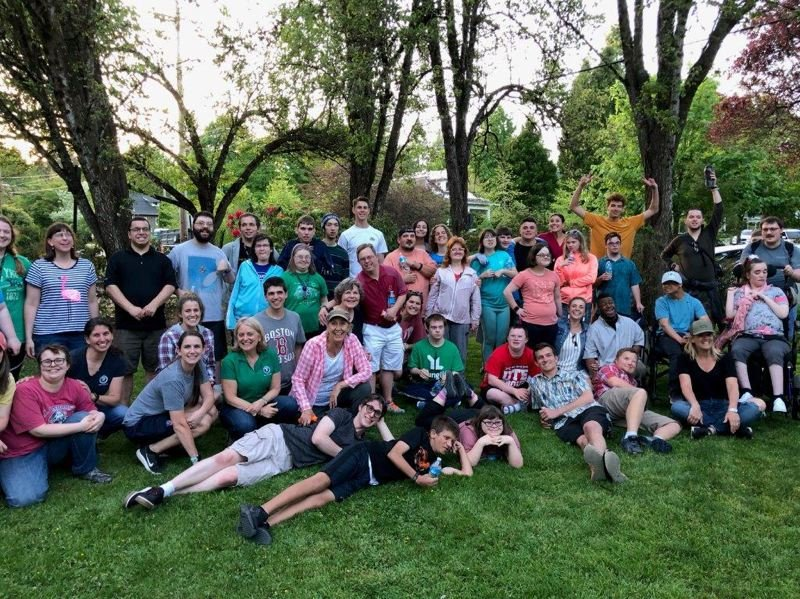COURTESY OF BABS HAMACHECK, LO STEWARDSHIP COORDINATOR - Members of the Young Life Capernaum group pose for a photo after completing a stewardship project in Rossman Park of Lake Oswego's First Addition neighborhood.