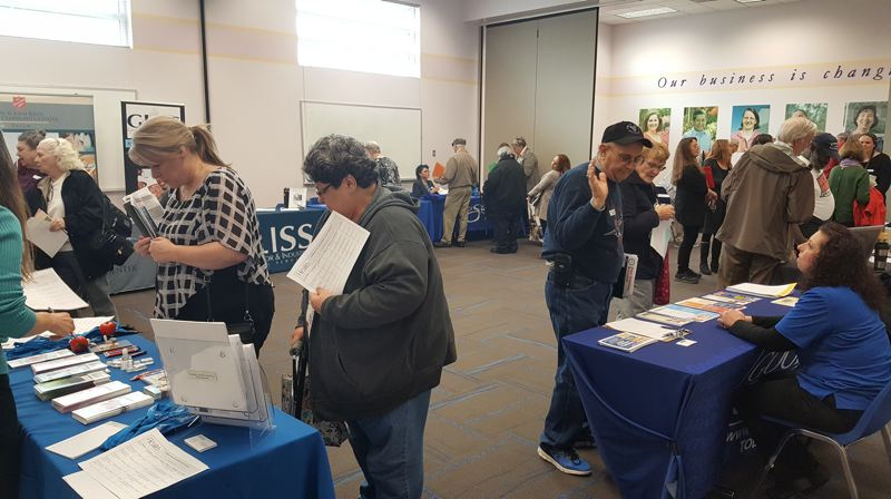 COURTESY: GARY EDWARDS, GOODWILL INDUSTRIES OF THE COLUMBIA WILLAMETTE - Jobseekers at an over 50s job fair in Salem in 2018. Goodwill Industries of the Columbia Willamette runs such fairs all the time with side classes on how to be interviewed by a millennial.