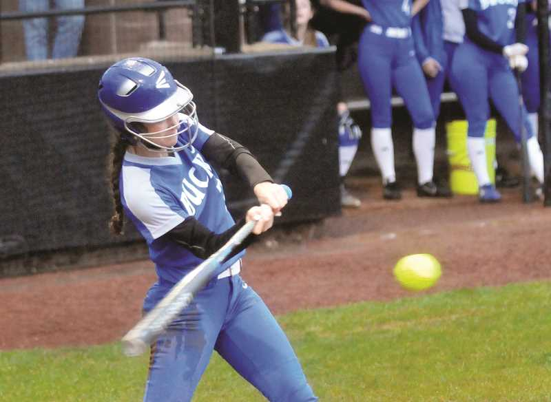 PMG PHOTO: GARY ALLEN - St. Paul senior Rachel Vela connects on a pitch against the Gaston Greyhounds on May 15. Vela went 3-for-4 with a game-high four RBIs.