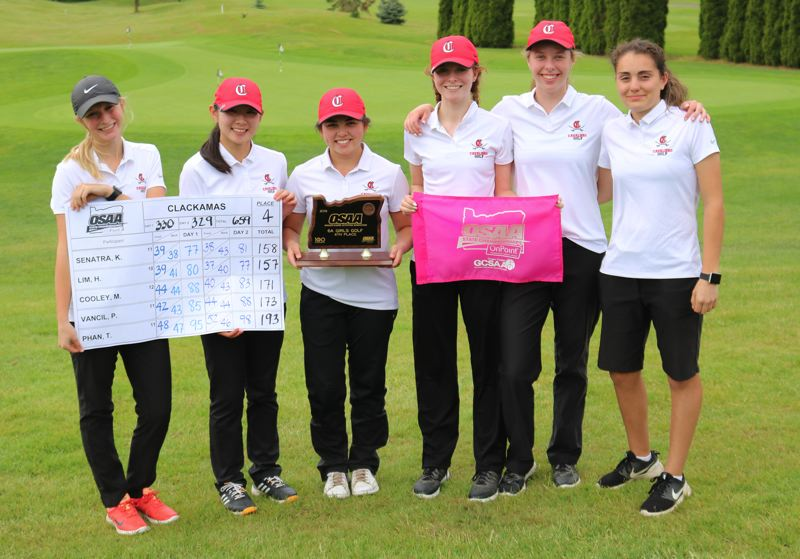 PMG PHOTO: JIM BESEDA - Clackamas golfers (left to right) Paige Vancil, Hannah Lim, Tutu Phan, Madison Cooley, Kristin Senatra, and Ana Bacon shot 359 to finish fourth at the OSAA Class 6A girls golf state tournament.