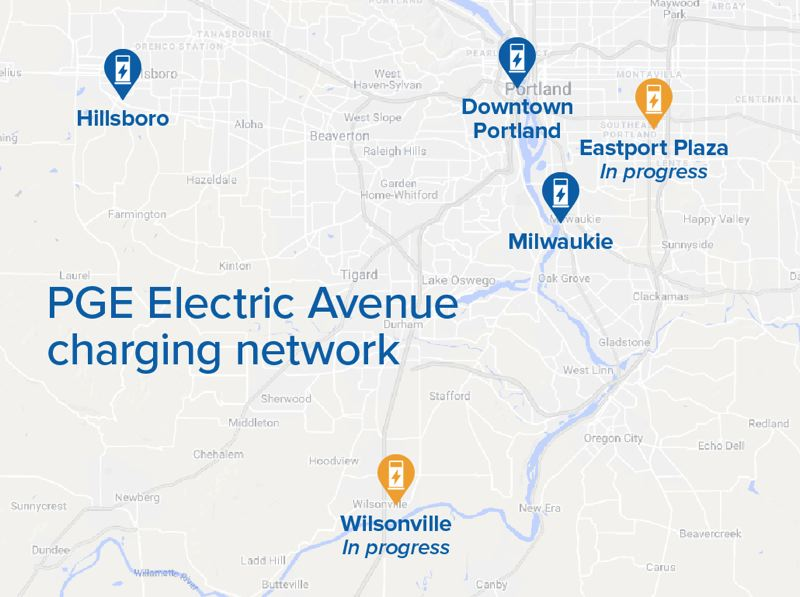 COURTESY PGE - A map of the current Electric Avenue charging stations and those under construction.