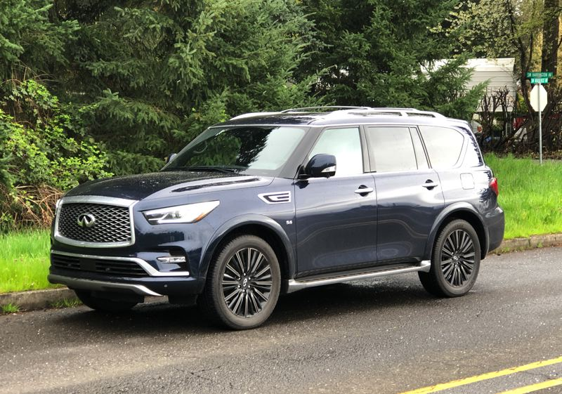 PMG PHOTO: JEFF ZURSCHMEIDE - The QX80 is a traditional design built on a truck frame with a powerful V8. That's why this SUV can tow up to 8,500 pounds.