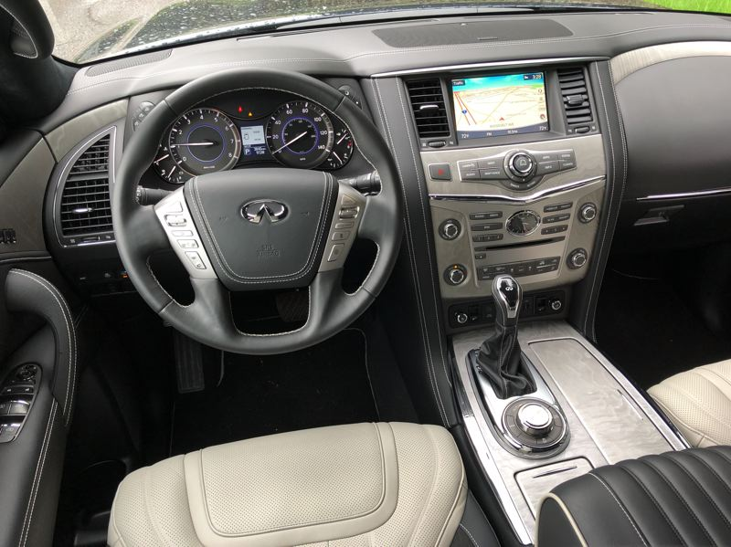 PMG PHOTO: JEFF ZURSCHMEIDE - Inside, the QX80 offers the kind of efficient luxury and advanced technologies that Infiniti buyers have come to expect.