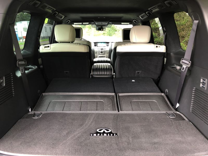 PMG PHOTO: JEFF ZURSCHMEIDE - The QX80 provides seating for six or seven passengers in three rows, with 16.6 cubic feet of cargo space behind the third row, or 49.6 cubic feet behind the second row. If you put all the seats down, you get an impressive 95.1 cubic feet of space.
