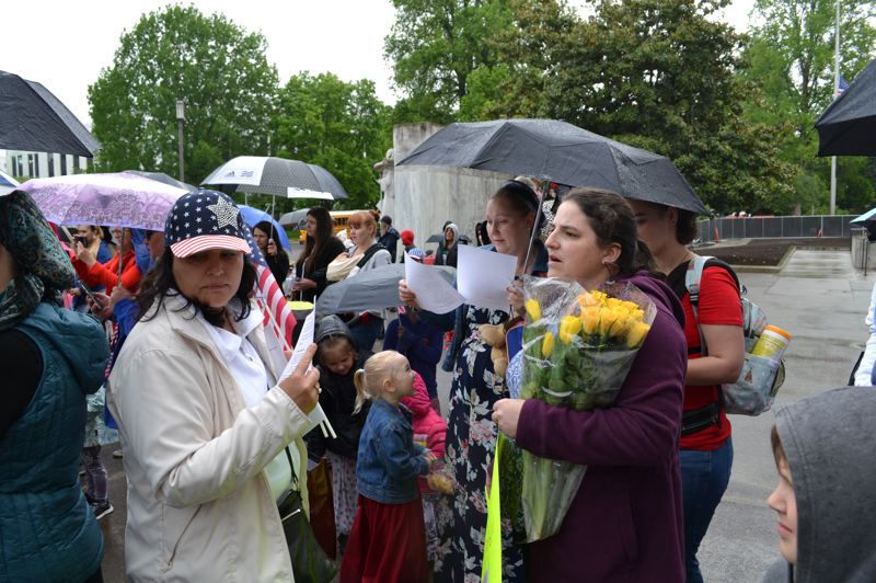 COURTESY PHOTO: AUBREY WIEBER/OREGON CAPITAL BUREAU - People from a variety of backgrounds came to the Capitol on Wednesday to thank lawmakers for killing House Bill 3063.