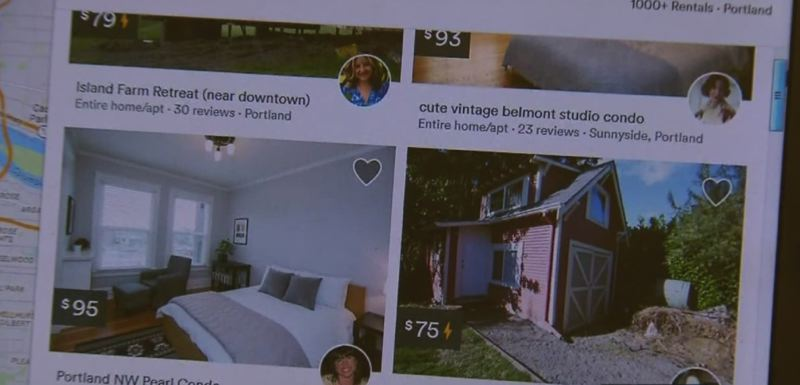VIA KOIN 6 NEWS - Listings from Portland, Oregon are shown here on Airbnb's website.