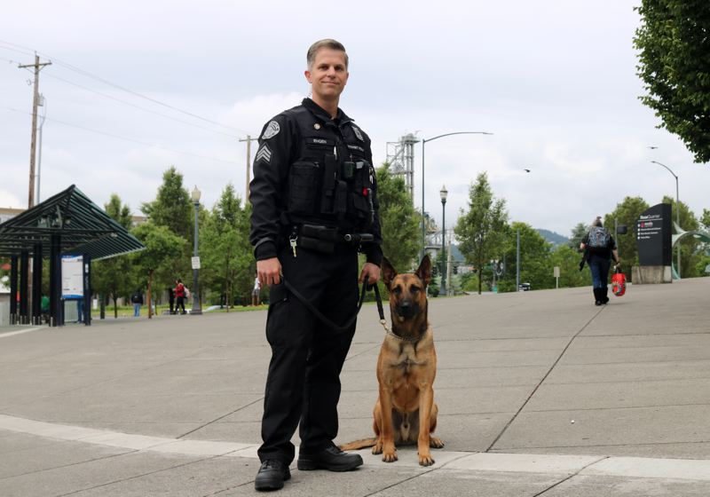 PMG PHOTO: ZANE SPARLING - Sgt. Matt Engen joined the Transit Police division at Portland Police Bureau nine years ago. Working with his new partner, Sem, has been a lifelong long dream.