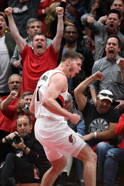 PMG PHOTO: CHRISTOPHER OERTELL - Meyers Leonard excites the crowd en route to 25 first-half points, of his 30 total, as the Trail Blazers battle Golden State in Game 4 of the NBA Western Conference finals Monday night at Moda Center.