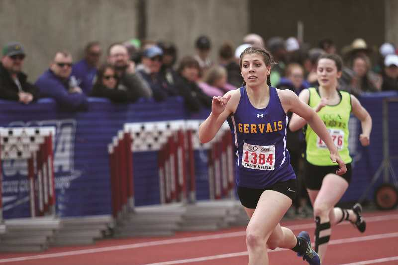 PMG PHOTO: PHIL HAWKINS - Gervais sophomore Katie Hanson put up a career-best time of 58.8 seconds to win the 2A 400-meter run at the 2019 State Track and Field Championships on Saturday.