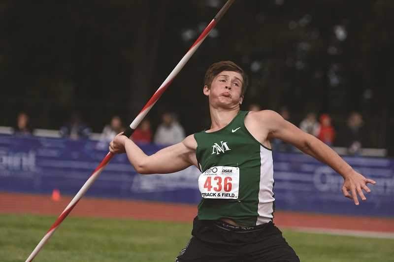 PMG PHOTO: DAVID BALL - North Marion sophomore Tyler Manning broke his own school javelin record at the 4A state championships on Friday, throwing 173-07 to take home second place in the event.