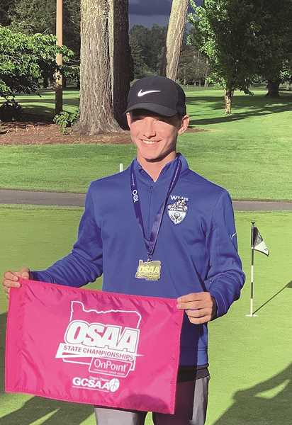 COURTESY PHOTO: KEN ELLIS - Woodburn sophomore Cole Beyer earned First Team All-State honors after shooting a two-day score of 155 (79-76) to place fourth individually at the 2019 4A Boys Golf State Championships.
