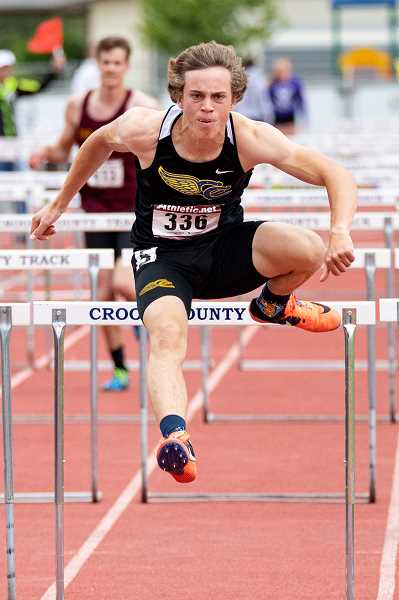 LON AUSTIN/CENTRAL OREGONIAN - Jonas Rice finished second in both the 110 and 300 hurdles at the district meet.