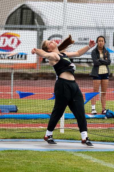 LON AUSTIN/CENTRAL OREGONIAN - Kenna Woodward won both the discus and shot put at the Intermountain Conference meet. Woodward was also sixth in the javelin and was named female field event performer of the meet.