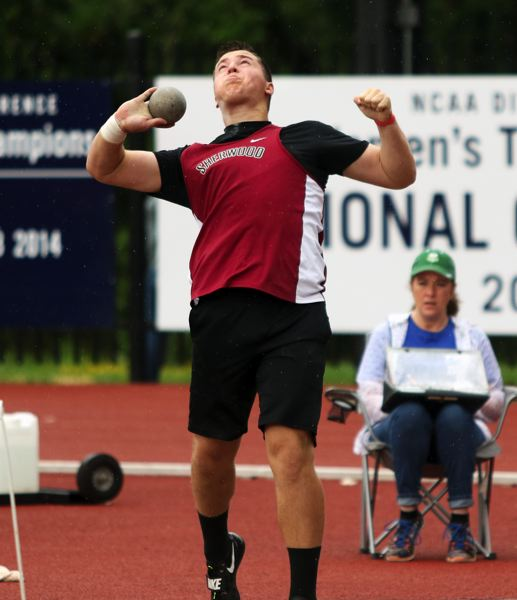 PMG PHOTO: DAN BROOD - Sherwood High School sophomore Noah Culbertson took second place in the shot put event at the Three Rivers League district track championships.