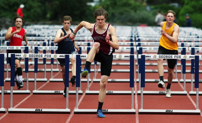 PMG PHOTO: DAN BROOD - Sherwood High School senior Dylan Blue qualified for the Class 6A state meet in the 110-meter high hurdles event.