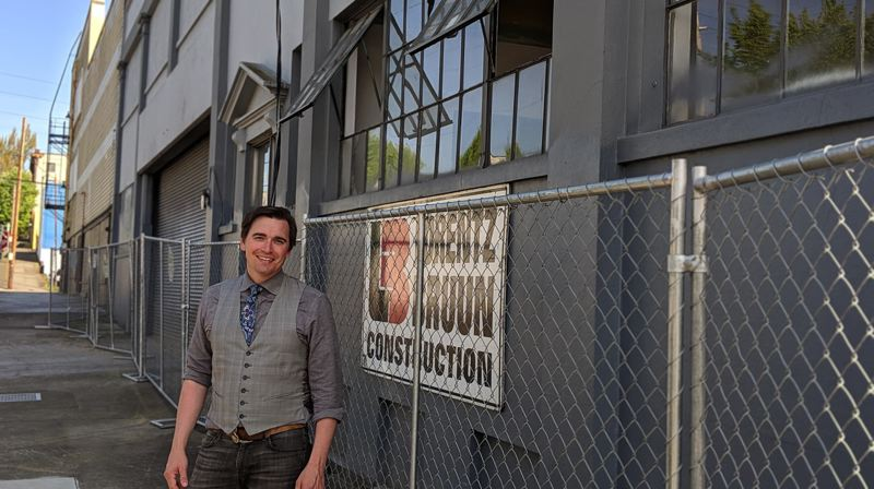 PHOTO: DIEGO DIAZ - Summit Development's chief development officer Eric Myers in front of the future Eastside Innivation Hub.